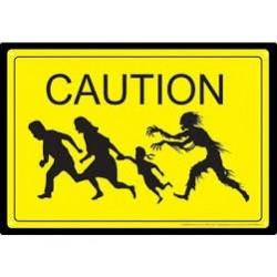 Zombie-Caution Zombie Tin Sign (Targa In Metallo)