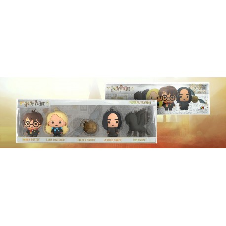 Harry Potter-Figural KEyrings 5 Packs (Harry Potter, Luna Lovegood, Golden Snitch, Severus Snape, Hippogriff)