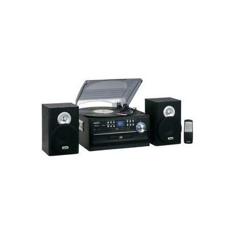 Giradischi (Turntables)-Jensen JTA-475 3-Speed Stereo Turntable Music System With CD, Cassette And Am/Fm Radio