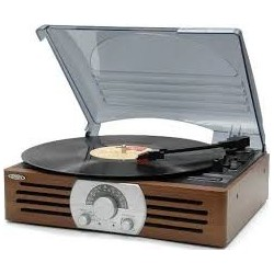 Giradischi (Turntables)-Jensen JTA-222 3-Speed Stereo Turntable With Built-In Speakers And Am/Fm Stereo Radio